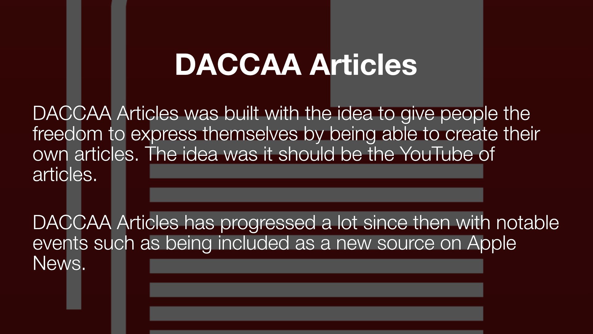DACCAA Articles